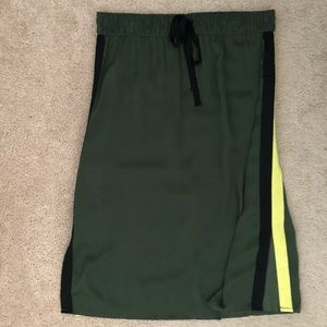 Who What Wear Olive Track Stripe Silky Midi Skirt